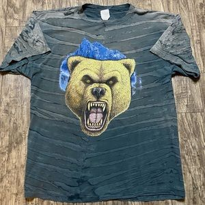 Vintage Grizzly Bear T Shirt Claw Mark Pattern XL